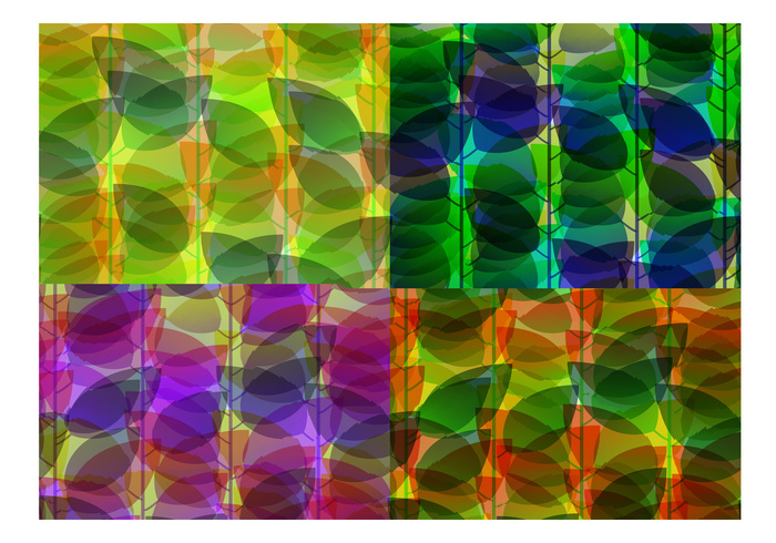 Holographic Abstract Leaf Backgrounds PSD