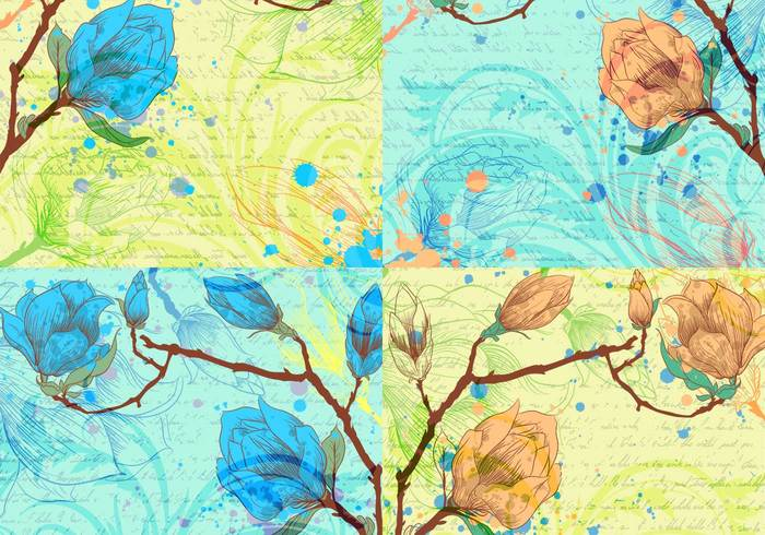 Script and Flower Backgrounds PSD