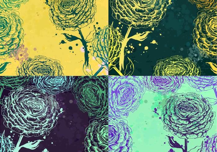 Splattered Rose Backgrounds PSD