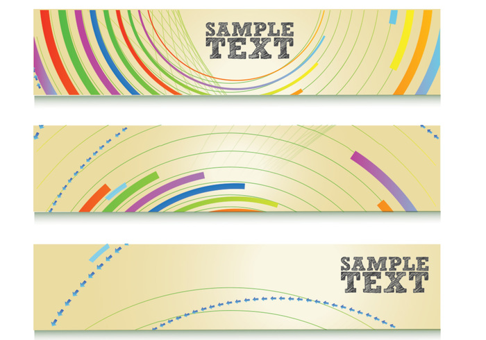 Colorful Abstract Lines Banner PSD Set
