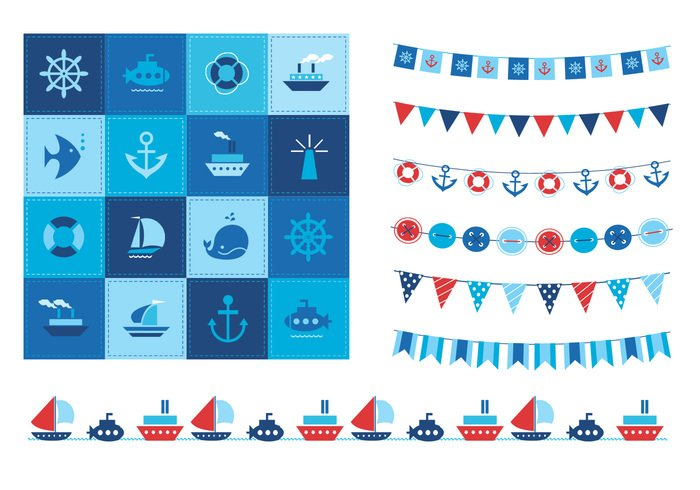 Summertime Ocean Icons and Buntings PSD Set