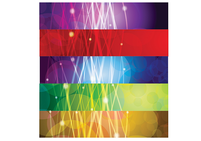 Abstract Glowing Lines Banners PSD Set