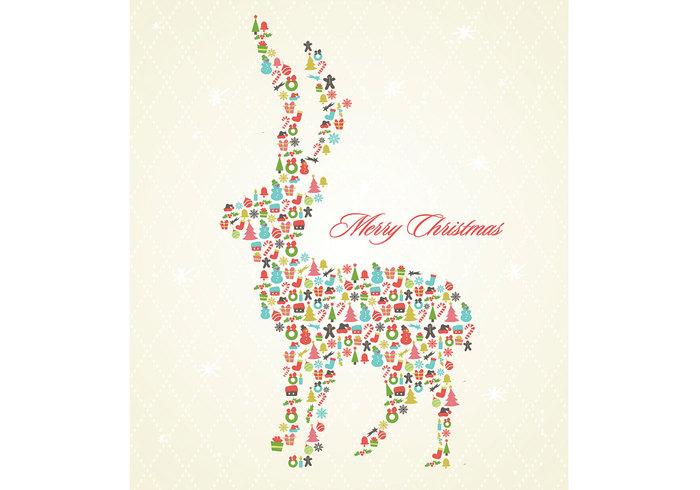 Retro Christmas Reindeer Background