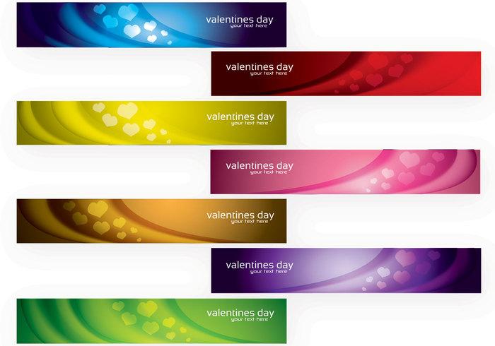 Modern Valentine's Day Banners PSD Set