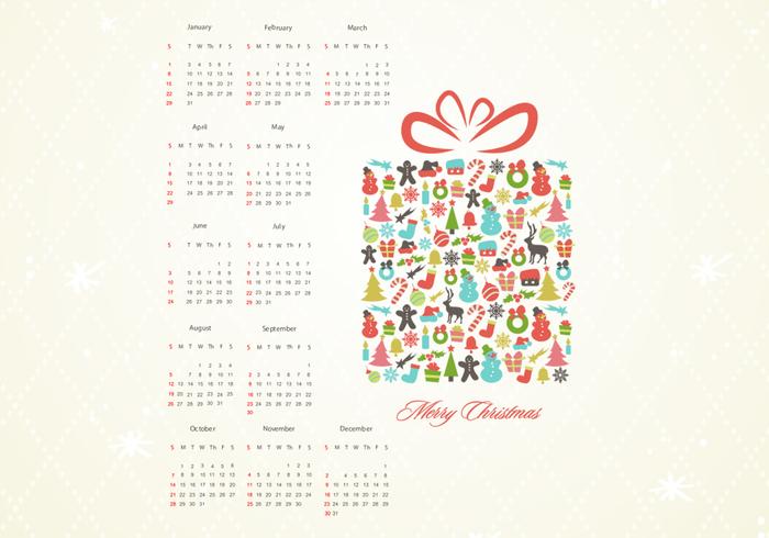 Retro Christmas Gift Calendar PSD
