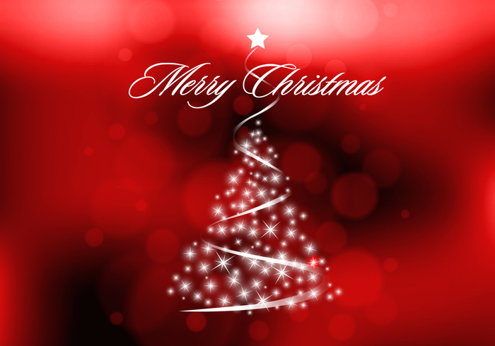 Red Sparkly Christmas Tree PSD