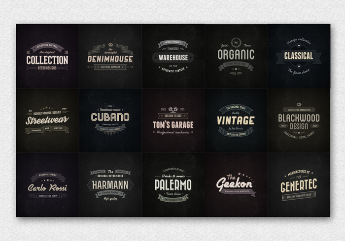 15 vintage badge logo psds