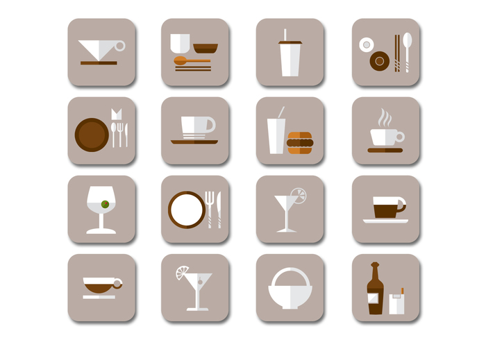 Flat Drink Icons PSD Collection