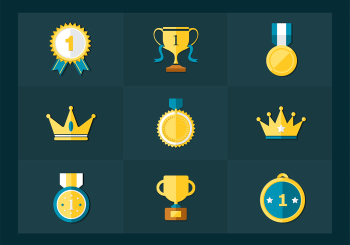 Flat Golden Trophy Medals PSD Pack
