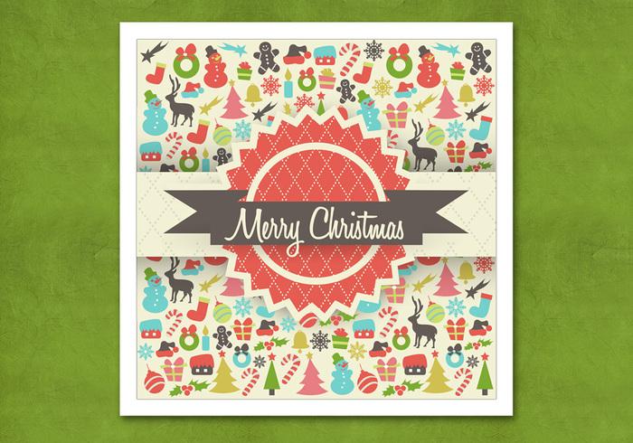 Retro Christmas Background PSD
