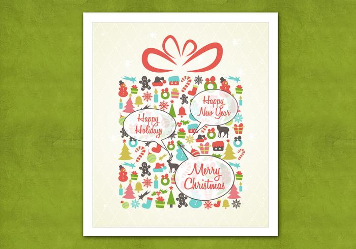 Retro Speech Bubble Christmas Present PSD