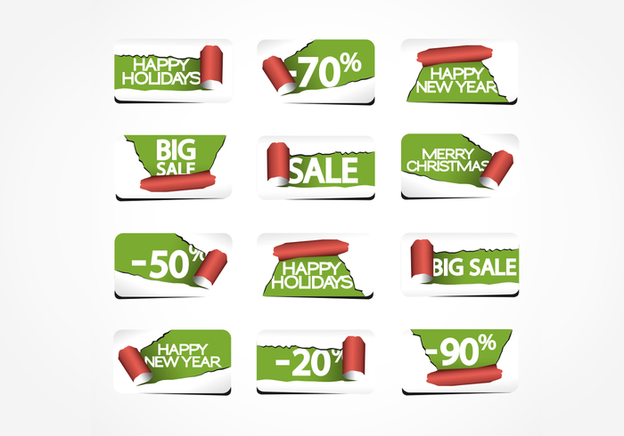Torn Paper Holiday Labels PSD Pack