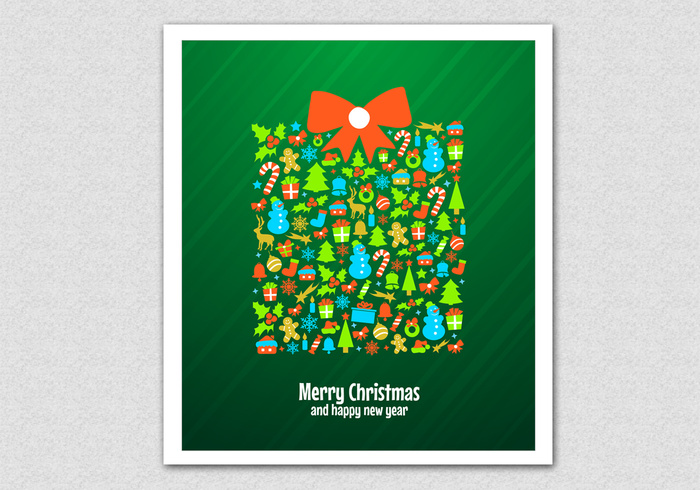 Green Christmas Gift PSD Background