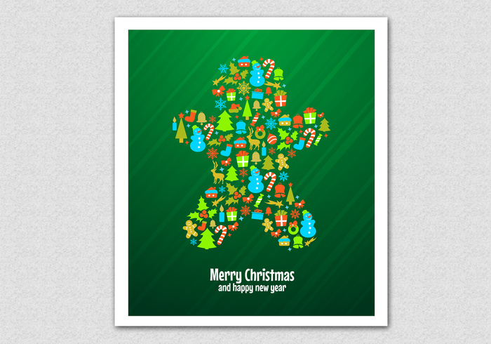 Green Christmas Cookie PSD Background