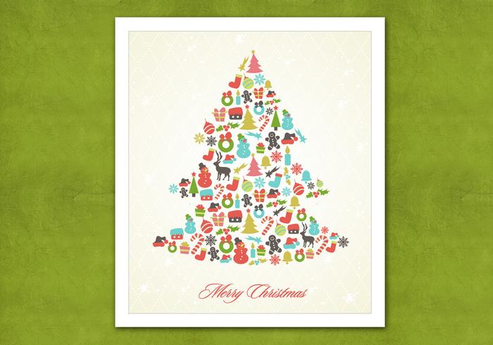 Retro Christmas Tree PSD Background