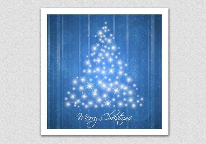 Blue Sparkling Christmas Tree Background
