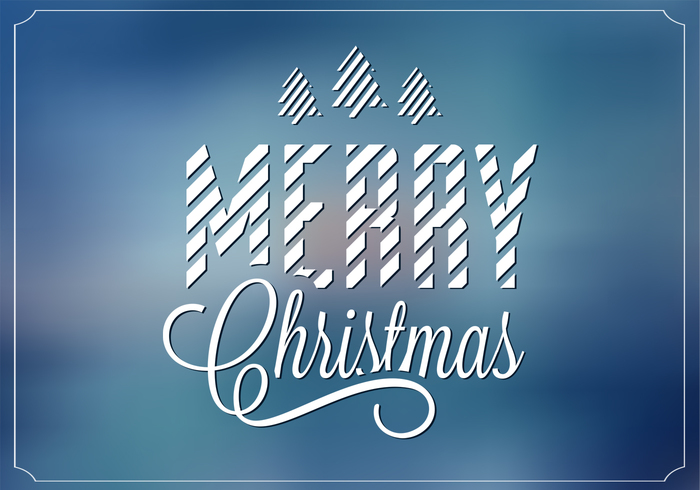 Blue Blurry Merry Christmas PSD Background