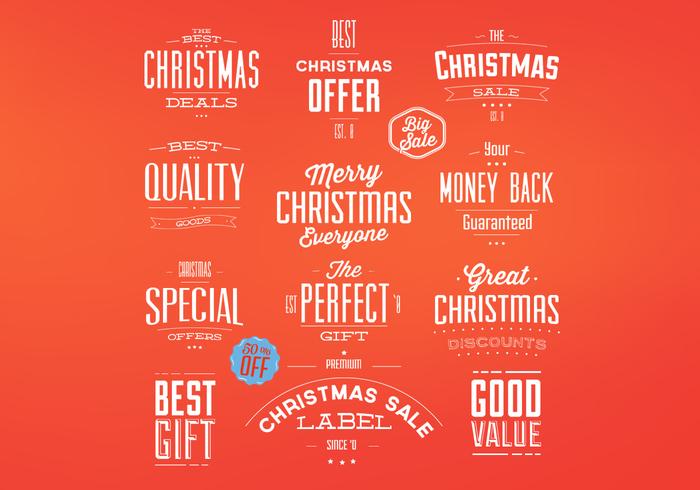 Retro Christmas Badges PSD Set