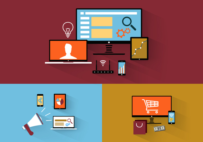 Flat Design Tech Icons PSD Pack