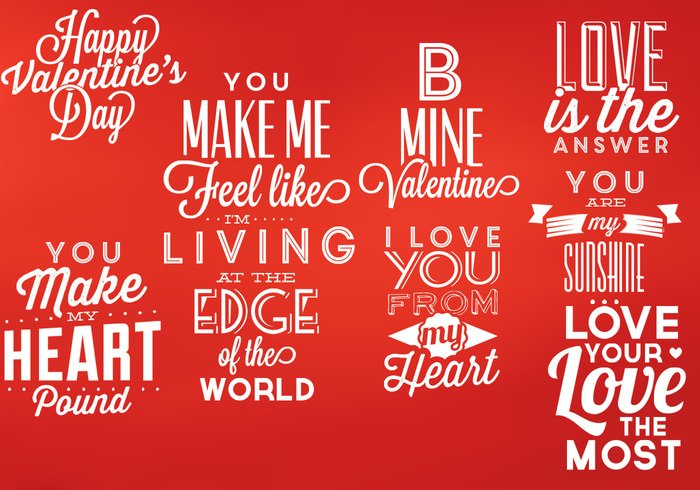Valentine's Typographic PSD Elements