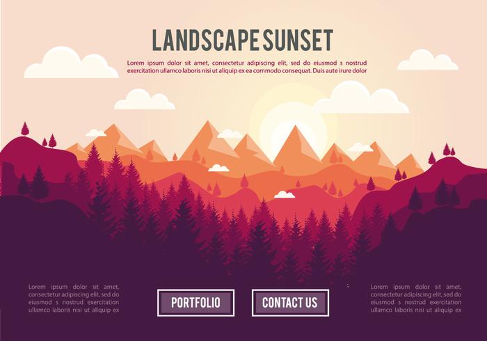 Landscape Sunset PSD Background