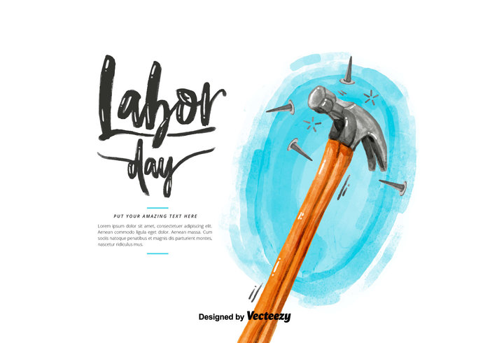 Labor Day Hammer Watercolor PSD