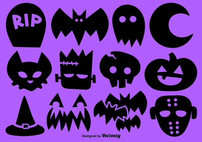Set Of 12 Halloween Brush Icons