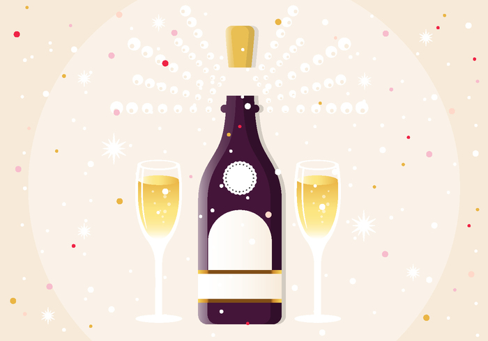 New Year Champagne PSD Illustration