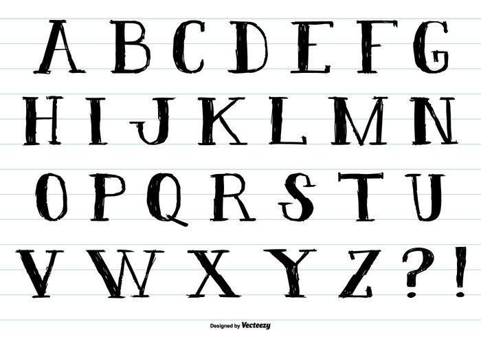 Hand Drawn Ink Style Alphabet PSD