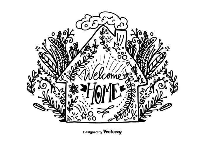 Hand Drawn Welcome Home Lettering PSD