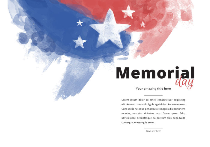 Patriotic Memorial Day Watercolor PSD