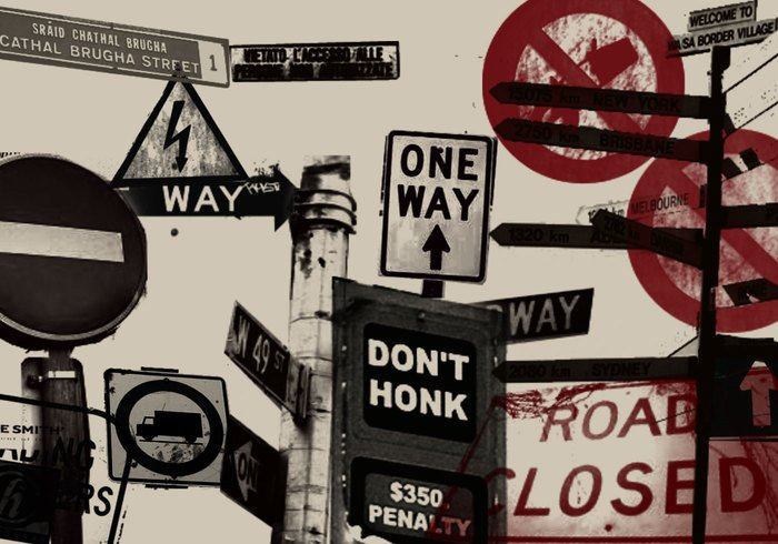 Straßenschild Grunge