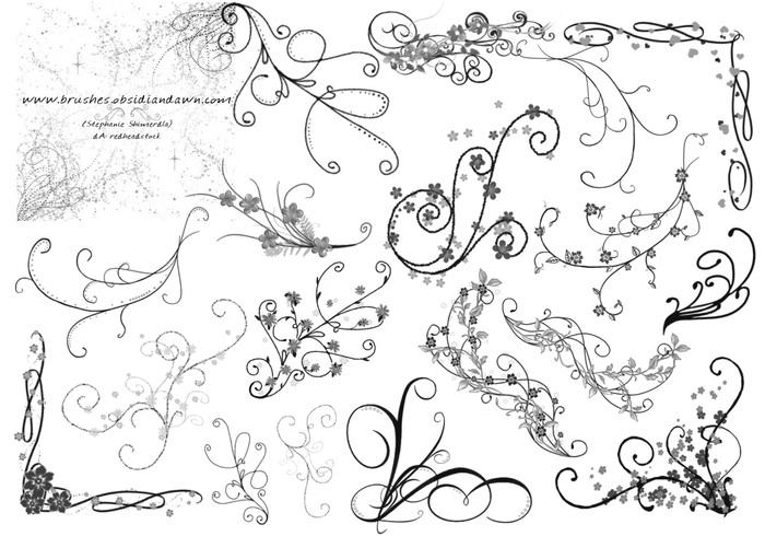 Swirl ornament brushes for photoshop 7 | photoshop free brushes.
