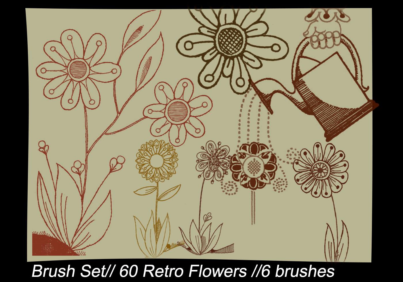 Retro Flowers Photoshop Brushes