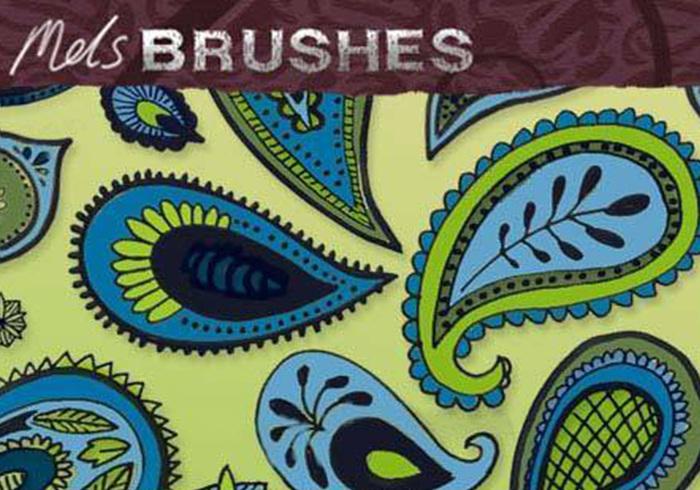 Free Paisley doodle photoshop brushes