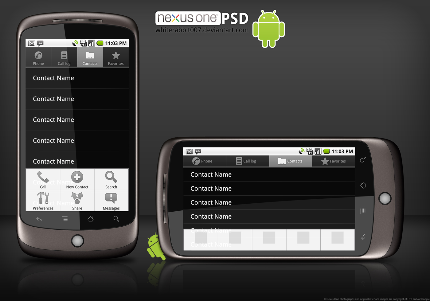 Google Nexus One template PSD