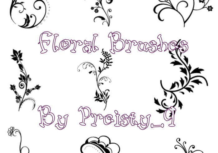 9 Simple Floral Brushes
