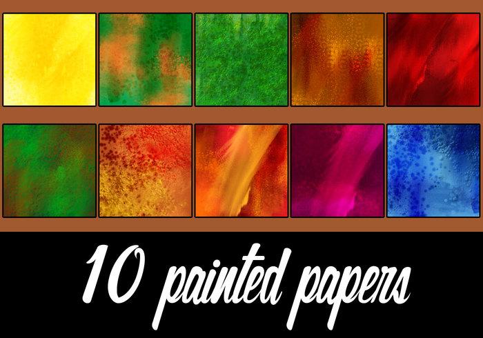 10 gemalte Papiere