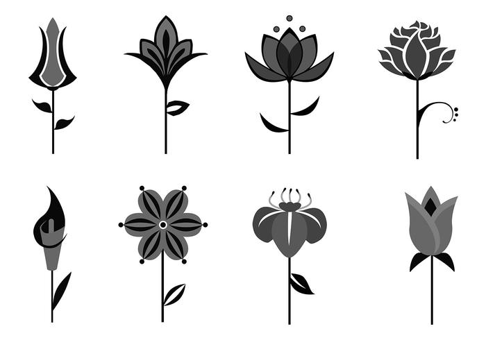 Abstract Flower Brushes Pack