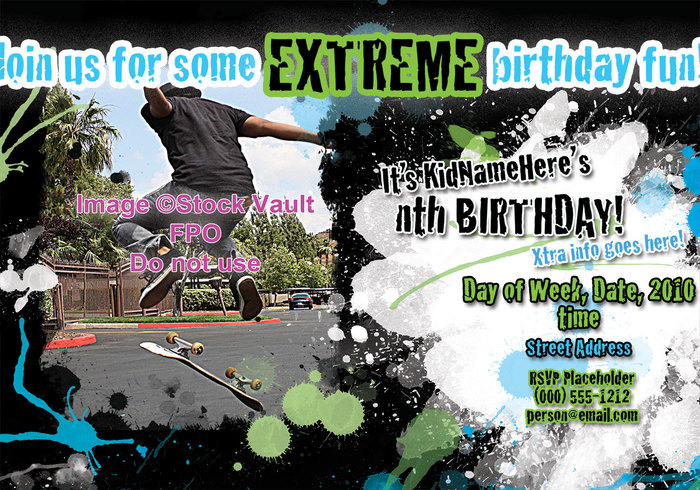 5,5 x 8,5 Convite Extreme Birthday Party