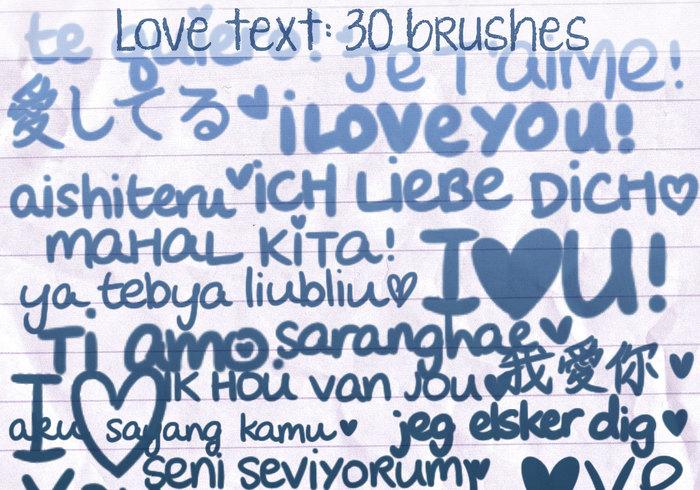 Pincéis de texto de amor