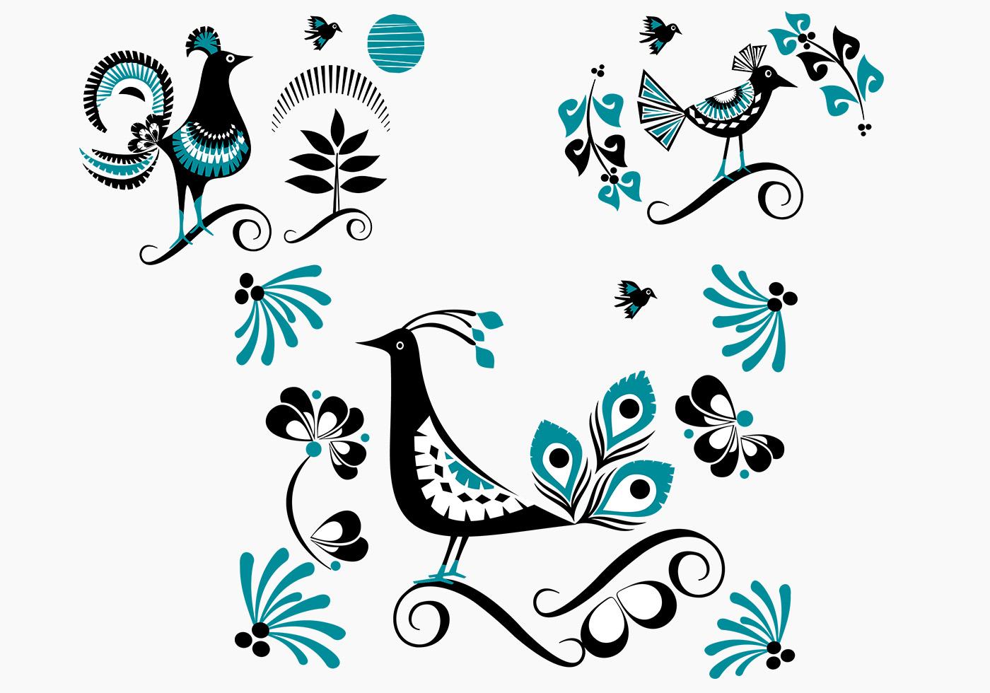 довольно редким узоры и картинки с птицами состоят