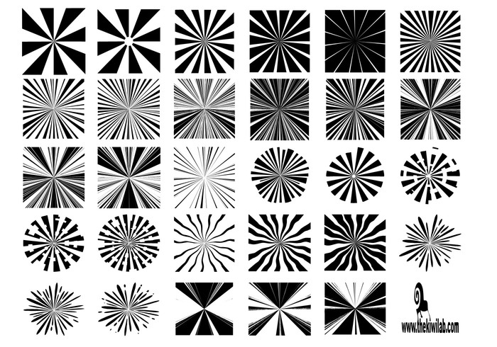 30 sunburst shapes