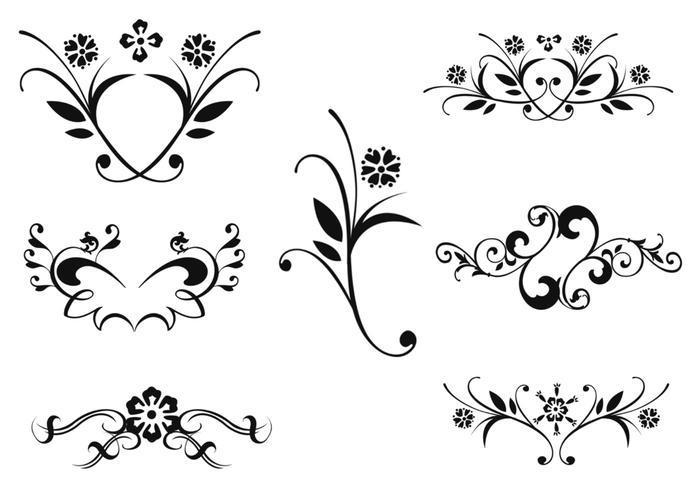 Pacote de escova de ornamento floral dois