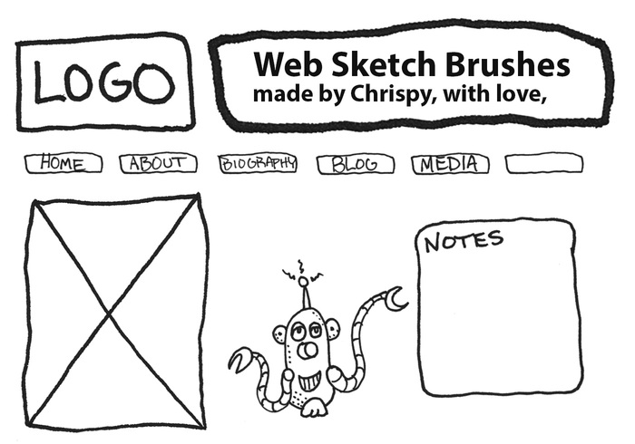 Brosses de croquis de conception de site Web par Chrispy