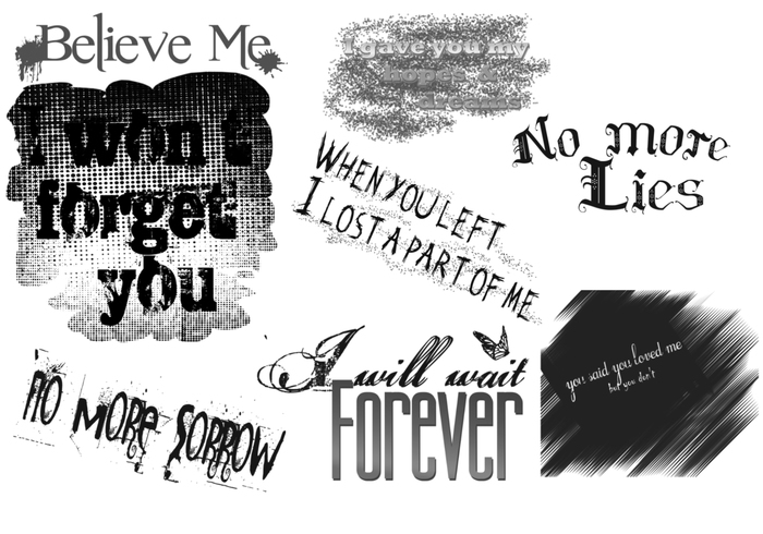 Sad Quotes text brushes