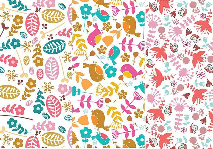 Blume und Vogel nahtlose Muster