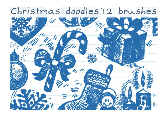 Doodles de escova de natal