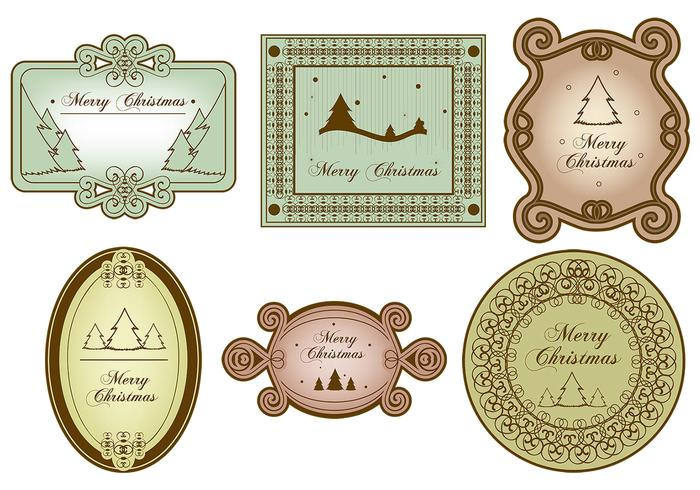 Vintage Merry Christmas Label Brush Pack