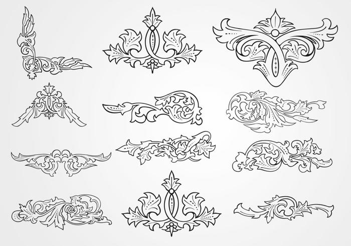 Decorative Floral Outlined Ornaments Brushes